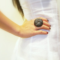 Vintage Button Ring Adjustable Large Black Embossed by JustColor