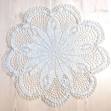 Big, large  linen doily,  diameter 20 inch, Ecru crochet, home decor, table runner, eco