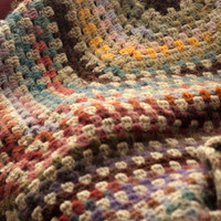 Crochet blanket, wool Granny square cream, brown, blue, pink, red