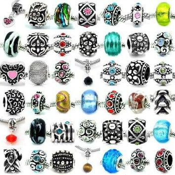 Pro Jewelry Assorted Silver Charms Crystal Bead Charms Glass Beads and Spacers for Snake Chain Bracelets Pack of 20