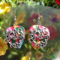 Mom Earrings, Mother Guitar Pick Jewelry, Custom Color, Pierced or Clip On Earrings, Mothers Day, Baby Shower