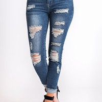 Too Good For You Distressed Jeans (Medium Wash)