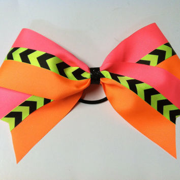 Neon yellow and black chevron orange and pink neon 3 inch cheerleader cheer bow