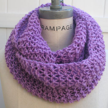 Hand Crafted Scarf Lavender Knit Infinity Scarf FREE SHIPPING Neckwarmer winter Christmas gifts  Autumn Scarf - By PIYOYO
