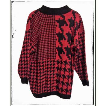 1980s Vintage Kate Collins Red & Black Houndstooth Patterned Sweater Women's Size Large