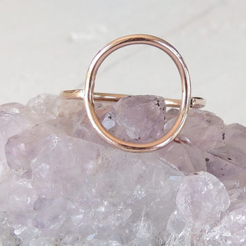 Karma Ring 14karat Pink Rose Goldfill Ring. Open Circle Ring. Round Geometric Ring. Infinity Ring. Made to order