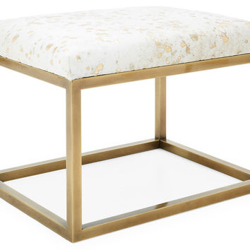 Colette Hair-on-Hide Ottoman, White/Gold, Ottomans
