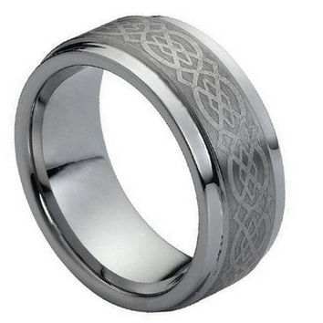 Tungsten Carbide Laser Inscribed Wicca Celtic Ring 9MM