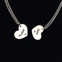Twenty One Pilots Matching Friendship Necklaces; twenty øne piløts; Josh Dun; Tyler Joseph; Friendship Necklaces; Hand Stamped; Fandom Metal