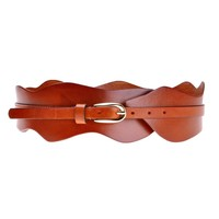 ZLYC Women Fashion Waviness Shape Design Cow Leather Buckle Wide Waist Belt