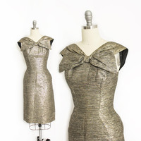 Vintage 1950s Dress - Metallic Silver Lame Fitted Wiggle Cocktail Dress 50s - XS Extra Small