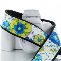 Blue Floral dSLR Camera Strap, Lime, Aqua, Flowers, SLR, fits Canon, Nikon cameras, Mirrorless, Photography, Cross body,136