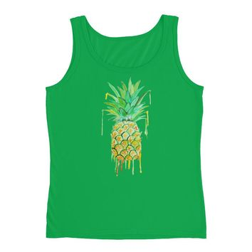 Pineapple  Ladies' Cap Sleeve Cotton T-Shirt,Ladies tank top, womens fashion, by Kikajo Ink