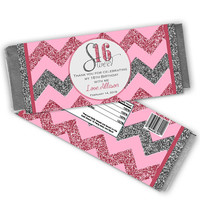 Pink Sweet 16 Candy Wrapper - Sweet Sixteen Party Favors - Personalized Sweet 16 Birthday Party Favor - Candy Bar Wrappers Silver Glitter