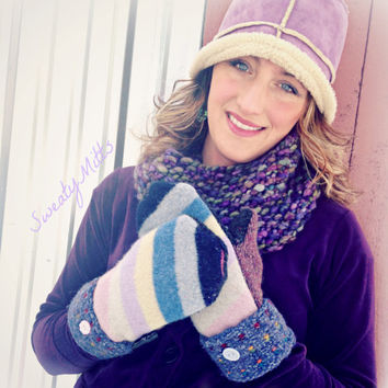 Wool Mittens Sweater Mittens Pink Purple Blue Mittens Handmade in Wisconsin Recycled Sweater Fleece Lined Stripes Gift Upcycled Sweaty Mitts