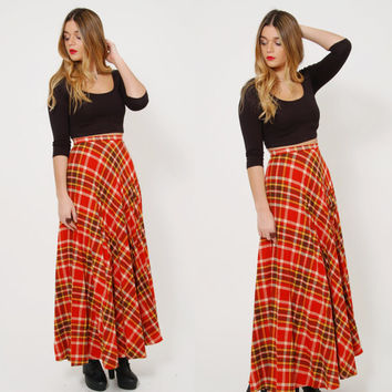 Vintage 70s PLAID Skirt Amber Plaid Maxi Skirt PLEATED Skirt Bobbie Brooks Skirt Indie Grunge Maxi Skirt