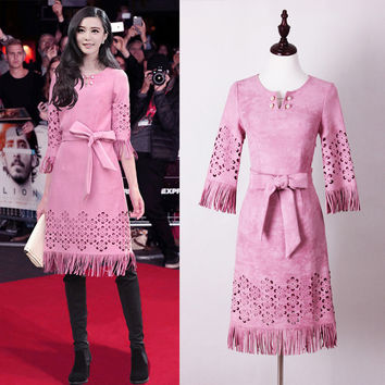 Warm Suede Laser Drilling Embroidery Tassel Lace With Pearl Decorative Pink Women Dress Free Shipping