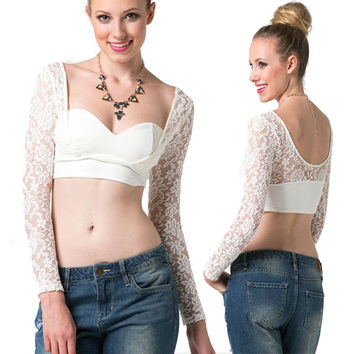 White Sweetheart Neckline Lace Long Sleeve Cropped Top