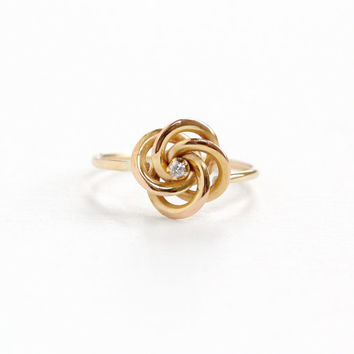 Antique 14k Rose Gold Diamond Victorian Love Knot Ring- Sz. 4.5 Late 1800s Fine Stick Pin Conversion Jewelry, Everlasting Love & Friendship