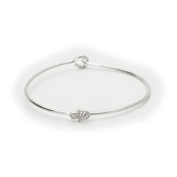 Sterling Silver Bangle Wire Bracelet Accented with a Hamsa Hand|By Beckids Jewelry for Kids