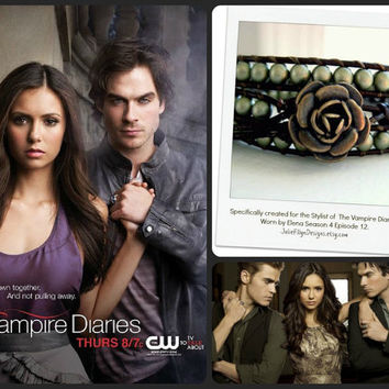 Elena Goddess Bracelet in Matte Gold - Beaded Leather Triple Wrap Bracelet - As Seen on The Vampire Diaries