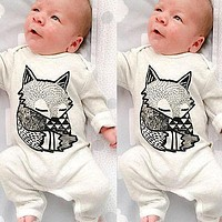2016 New Lovely Newborn Baby Girls Boy Fox Romper Jumpsuit Playsuit Outfits Clothes Long Sleeve Clothing Spring Summer 3 6 12 24
