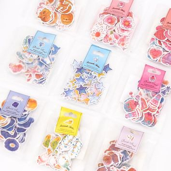 60 pcs / pack Japanese creative lovely watercolor paper sticker package hand diary and album DIY decoration