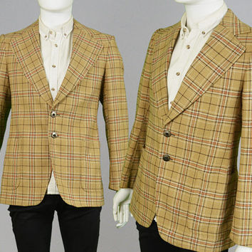 Vintage 60s 70s Mod Checked Blazer Mens Blazer Sport Coat Plaid Jacket Small Tartan Blazer Dandy Fashion Suit Jacket Wide Lapels 1970s