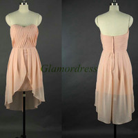short sweetheart chiffon bridesmaid dresses cute folded high low prom dresses under 100 cheap unique gowns for wedding party for girls