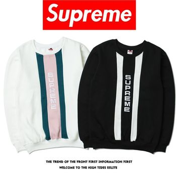Supreme Sports Tops Patchwork Embroidery Unisex Pullover Seatershirt [16159309836]