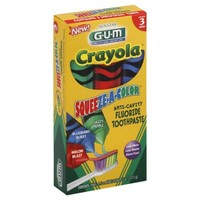 Sunstar GUM® Crayola® 3-Pack Squeeze-A-Color 1.5 oz. Anti-Cavity Fluoride Toothpaste