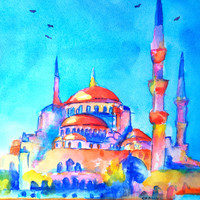 Turkey, Istanbul, Blue Mosque, 9x12, Original Watercolor painting, colorful, orange and blue,architecture,landscape,dome, minaret, abstract
