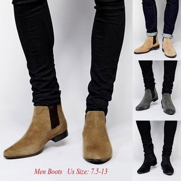 2018 Men's High Fashion Chelsea Boots Gentleman Leather Boots Casual Street Style Shoes Comfy Low-heeled Round Toe Shoes