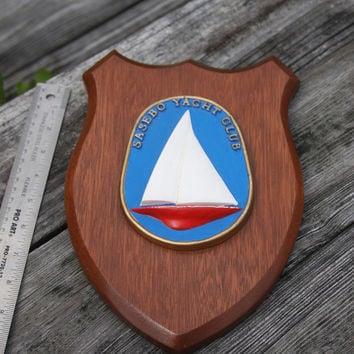 Wooden Sasebo Yacht Club Wall Plaque Home Decor Vintage