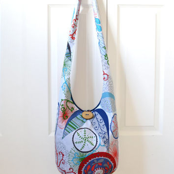 Hobo Bag, Sling Bag, Leaves, Geometric, Floral, Vines, Vibrant, Bright, Colorful, Hippie Purse, Boho Bag