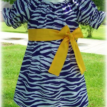 Custom Boutique Clothing Girls Dress Purple Gold & White LSU Tigers Zebra Peasant Dress with Sash, Size 3mos to 8yr