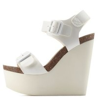 White Double Buckle Footbed Platform Wedges by Charlotte Russe