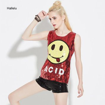 ONETOW New 2017 Smile Sequined Tank Tops Women Summer Blended Hop Shining Bling Sleeveless Dance Party Tshirt Jazz Cheerleader Costume