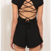 Rompers/Jumpsuits > Lace-Up High Neck Romper In Black