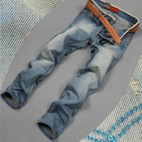 Cotton Denim Pants Men Slim Casual Jeans [6528508035]