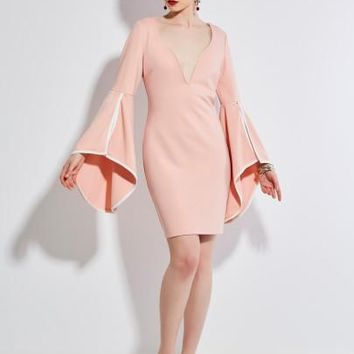 Hollow V-Neck Bell Sleeve Women's Sheath Dress