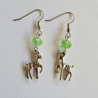 Fawn earrings,  deer earrings with green crystal bead
