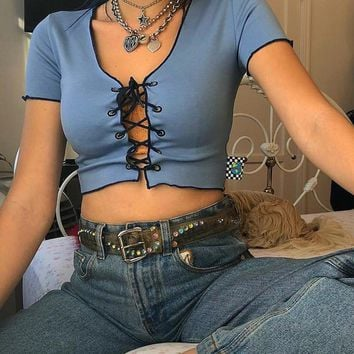 Yoline lace up top