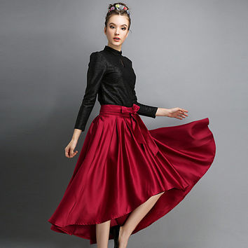 Asymmetrical A-Line Midi Ruffled Skirt in Red