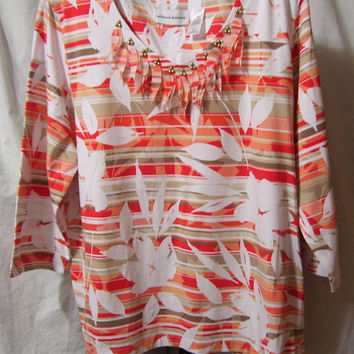 Alfred Dunner, Top Blouse, Print, Coral Beige White, Fringe Neckline Accent, Size XL Extra Large, Casual, Resort Cruise Wear