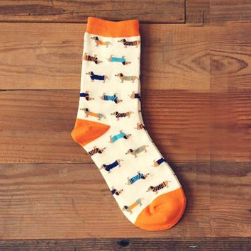 Dachshund Puppy Dog Print Animal Themed Cotton Socks in White | DOTOLY