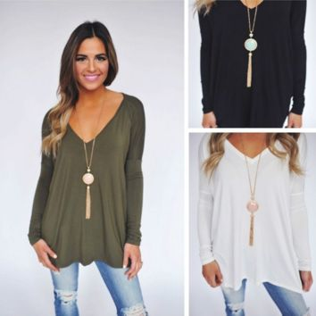 Loose V-neck long-sleeved  T-shirt B0015856
