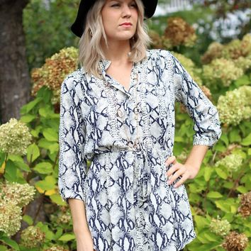 Karlie Snake Print Shirt Dress-$64.00 | Hand In Pocket Boutique