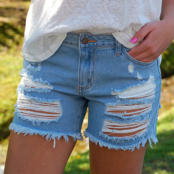 Back Road Baby Blue Jean Shorts