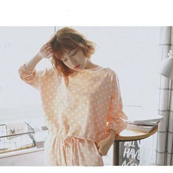 Autumn Women Pajamas Set Long Sleeve Pullover + Full Length Pants Lovely Polka Dot Women Sleepwear Pajamas